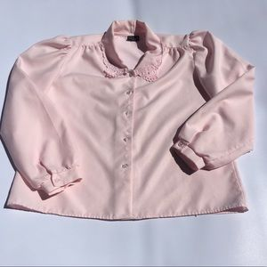 Vintage T.S. Reed Blouse Pink Floral Cutout Collar